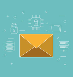 envelope email with online security icons vector image