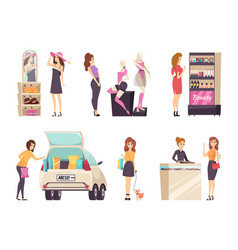 females shopping store purchasing clothes vector image