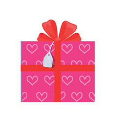 festive giftbox wrapped in paper with pink hearts vector image