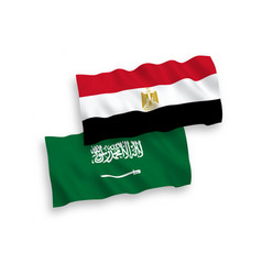 Flags saudi arabia and egypt on a white vector