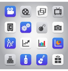 Flat and stylish design icon set vector