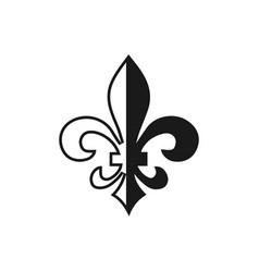 fleur de lis symbol silhouette - heraldic symbol vector image