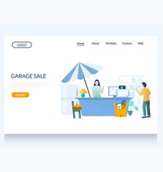 Garage sale website landing page design vector