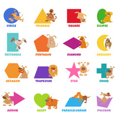 Geometric shapes with dogs and puppies set vector