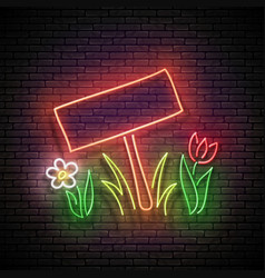 glow nameplate on lawn grass and flowerbed vector image