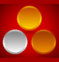 golde silver bronze medals starburst award fiirst vector image
