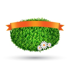 Green grass oval with chamomiles and flag isolated vector image