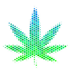 halftone blue-green cannabis icon vector image