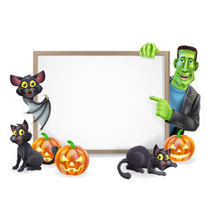 Halloween sign with bat and frankenstein vector