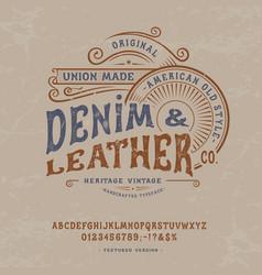 handmade vintage font denim and leather vector image
