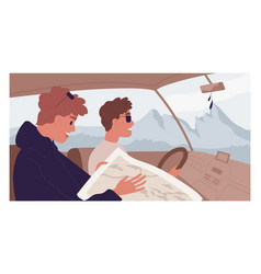 Happy people traveling together car and looking vector