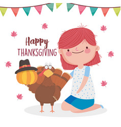 happy thanksgiving day cute girl turkey pumpkin vector image