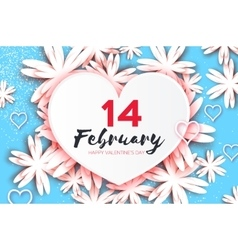Happy Valentines Day Greeting card Paper cut vector image