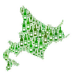 Hokkaido island map mosaic of wine bottles and vector