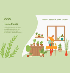 Houseplants for your home webpage template vector