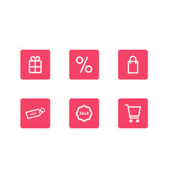 icon set black friday pictograms isolated on a vector image