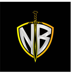 Initials n b is a shield decorated vector
