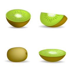 kiwi fruit food slice icons set realistic style vector image
