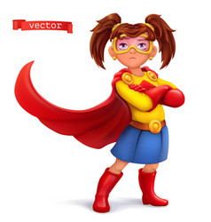 little girl in superhero costume with red coats vector image