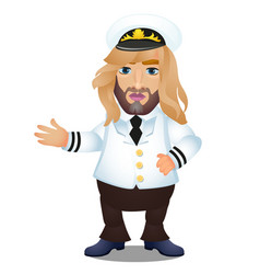 long-haired captain ship in uniform and cap vector image