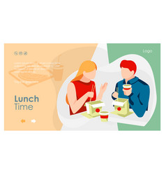 Lunch time landing page vector