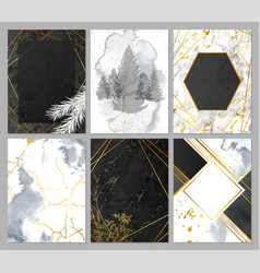 luxury cards collection with marble and watercolor vector image