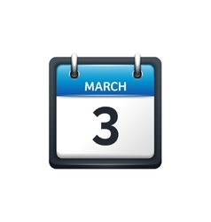 March 3 Calendar icon flat vector image