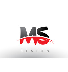 Ms m s brush logo letters with red and black vector