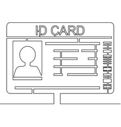 one continuous line drawing id card vector image
