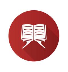 Open quran book flat design long shadow glyph icon vector