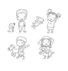 people with pets cute cartoon men and women with vector image