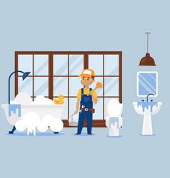 Plumber repair service male vector