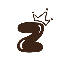 plump vintage cute letter z with crown vector image