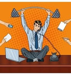 Pop Art Successful Businessman at Office Work vector image
