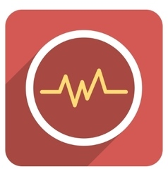 Pulse Monitoring Flat Rounded Square Icon with vector image
