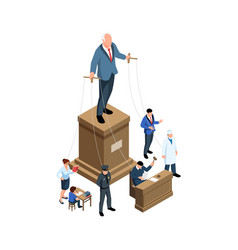 Puppet government isometric concept vector