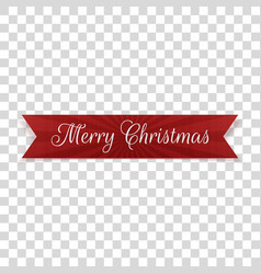 realistic merry christmas bent red ribbon vector image