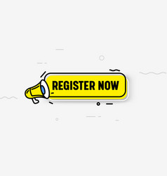 register now isolated icon or banner yellow vector image