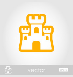 Sand castle outline icon summer vacation vector