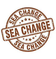 Sea change brown grunge stamp vector