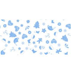 seamless of blue christmas elements vector image