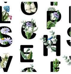 seamless pattern from font with flowers vector image