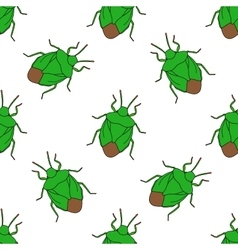 Seamless pattern with shield bug Palomena prasina vector