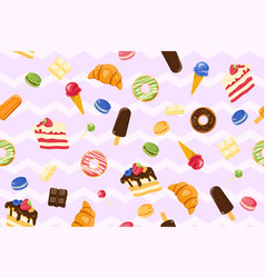 Seamless pattern with sweet treats vector