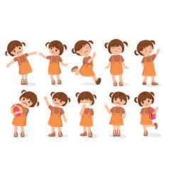 Set girls characters cartoon style vector