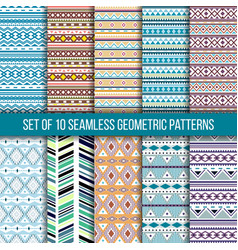 Set of 10 seamless geometric patterns vector
