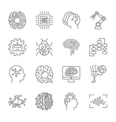 set of machine learning line icons simple vector image