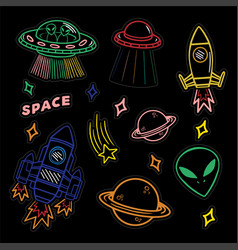 set stickers or patches on space topic vector image