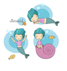 Set with cute cartoon mermaid little sisters fun vector