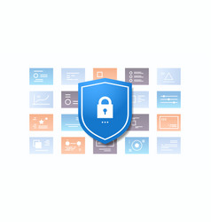 shield with padlock desktop or mobile application vector image